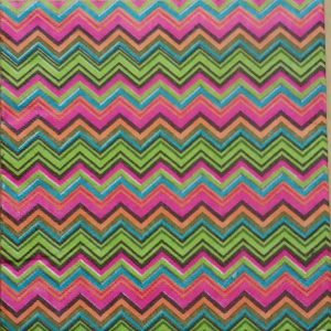 Pink And Green Ikat/Chevron Pattern Decoupage Napkin