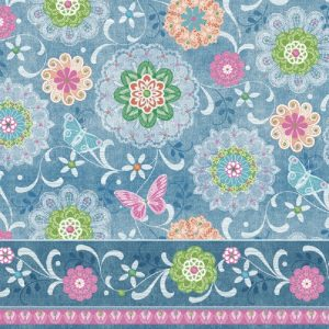 Mixed Flowers With Blue Border Decoupage Napkin