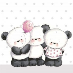 Three Pandas With Balloon Decoupage Napkin
