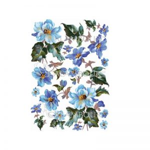 Calambour Rice Paper -  Blue Flowers