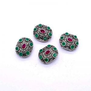 Victorian Beads - Rectangle Pink With Green Stone