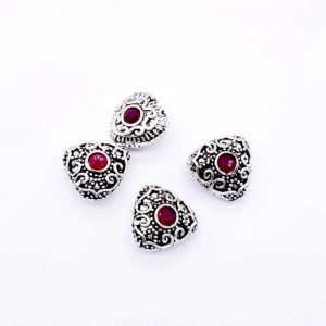 Victorian Beads - Heart Pink Stone