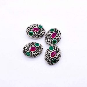 Victorian Beads - Oval Pink With Green  Stone