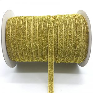 Yellow Glitter Velvet Ribbon