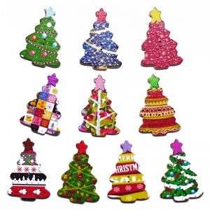 Mixed Printed Christmas Tree Wooden Buttons