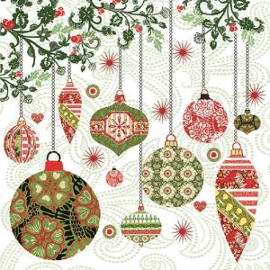 Christmas Baubles Decoupage Napkin