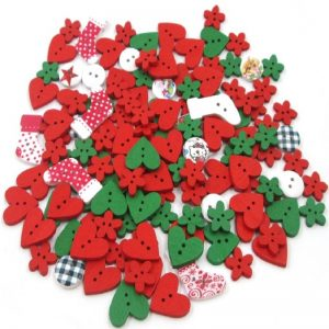 Mixed Christmas Theme Wooden Buttons