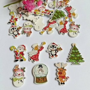 Mixed Christmas And Winter Theme Wooden Buttons