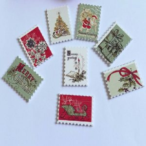 Christmas Postal Stamp Wooden Buttons