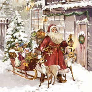 Santa Visits With Presents Decoupage Napkin