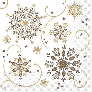 Gold And Brown Snowflake Decoupage Napkin