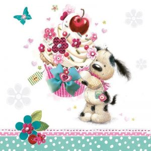 A Dog With Cupcake Decoupage Napkin