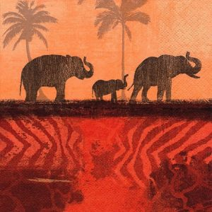 Elephants In The Morning Sunset Decoupage Napkin