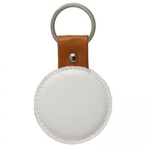 White Faux Leather Round Key Chain