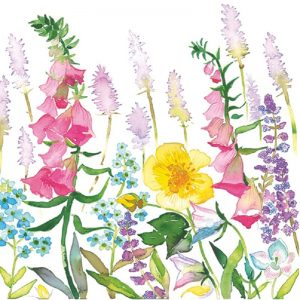 Mixed Colour Flowers In White Background Decoupage Napkin