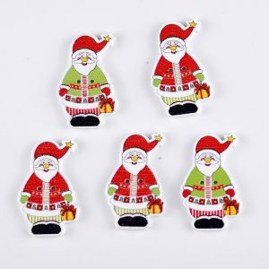 Santa Go Red And Green Wooden Buttons