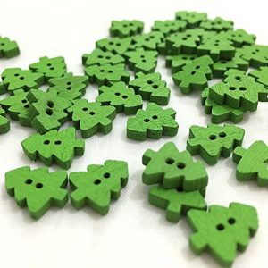 Mini Green Christmas Tree Wooden Buttons