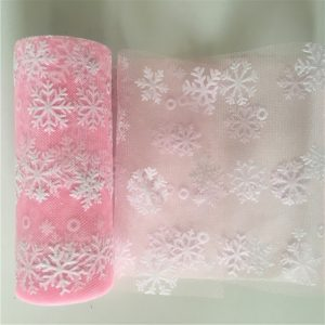 Baby Pink Netted Tulle With Snowflakes