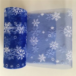 Royal Blue Netted Tulle With Snowflakes
