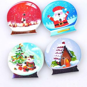 Snow Globe Wooden Buttons