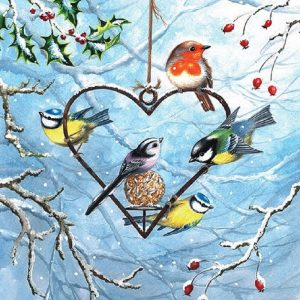 Five Birds On Heart Shaped Feeder Decoupage Napkin