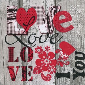 Love Letter With Red Heart Decoupage Napkin