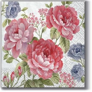 Peach Colour Flowers Decoupage Napkin