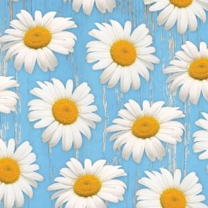 White Daisies On Blue Background Decoupage Napkin