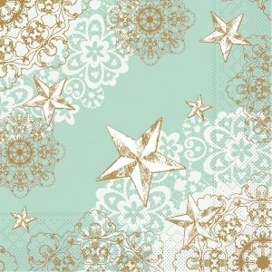 White Stars And Flowers Decoupage Napkin