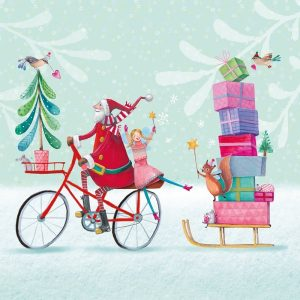 Santa On Cycle Ride With Gifts Decoupage Napkin