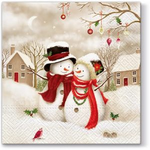 Mr. And Mrs. Snowman Decoupage Napkin
