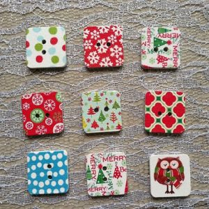 Christmas and Winter Theme Square Wooden Buttons