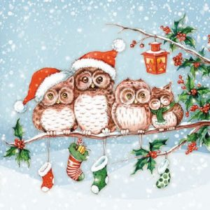 Owl Family Celebrating Christmas Decoupage Napkin