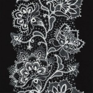 White Lace On Black Background Decoupage Napkin