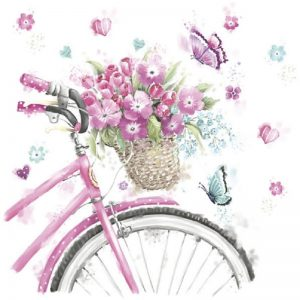 Pink Bicycle And Flowers Decoupage Napkin
