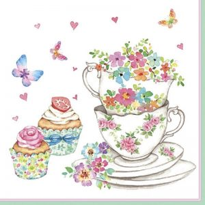Tea Cup And Cup Cakes With Butterfly Decoupage Napkin