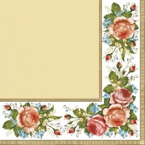 Border Roses With Cream Decoupage Napkin