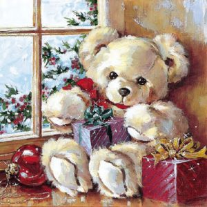 A Teddy With Gifts Decoupage Napkin