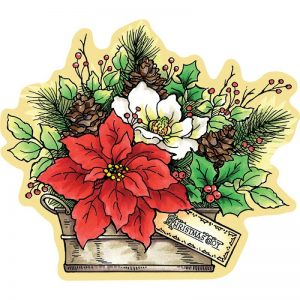 Stampendous Mounted Poinsettia Stamp