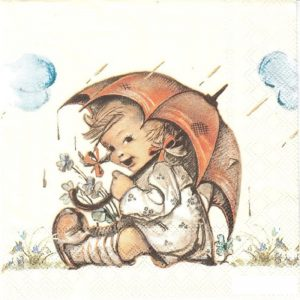 A Girl With Umbrella Decoupage Napkin
