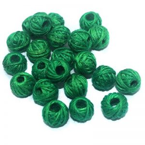 Dark Green Cotton Thread Beads