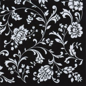 White Flower In Black Background Decoupage Napkin