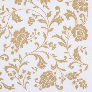Gold Flower Pattern In White Background Decoupage Napkin