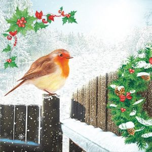 A Robin On Fence Decoupage Napkin