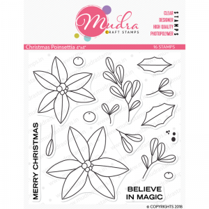 Mudra Clear Stamp - Christmas Poinsettia
