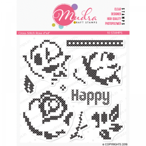 Mudra Clear Stamp - Cross Stitch Rose