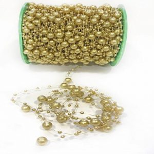 Gold Faux Pearl Bead Garland String