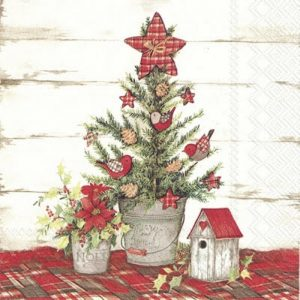 Vintage Christmas Tree Decoration Decoupage Napkin
