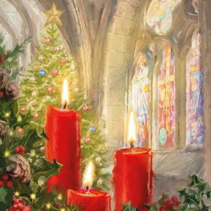 Christmas Tree With Candles In Church Decoupage Napkin