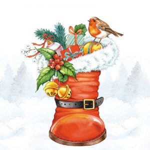 A Robin In A Boot Decoupage Napkin